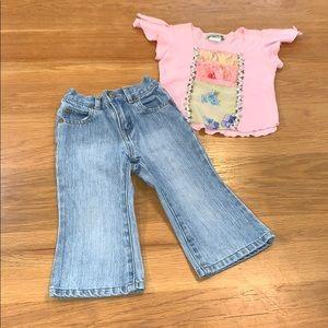 GAP~Size 18-24m LITTLE MASS~Jeans Flower Tee~SET